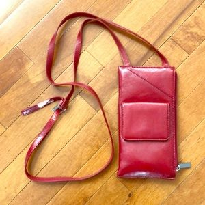 HOBO red leather wallet on a chain